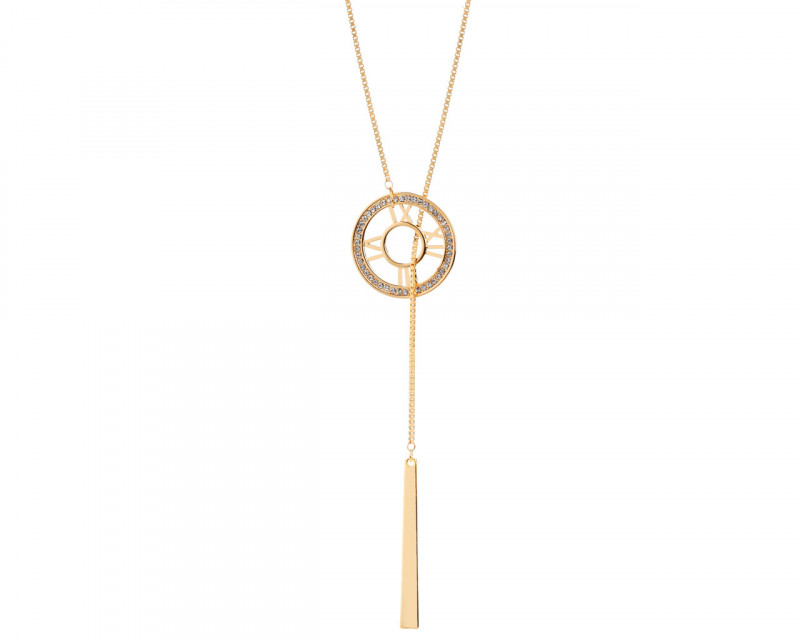 Gold-Plated Zinc Necklace with Crystal