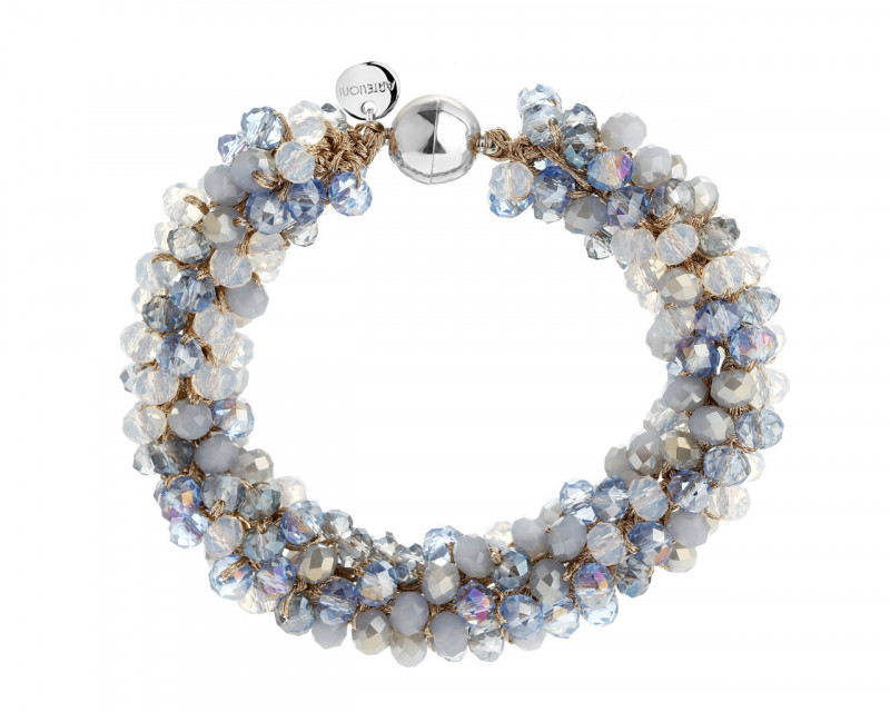 Stainless Steel, Polyester Bracelet with Glass