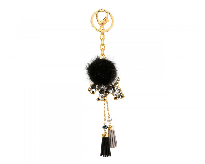 Gold-Plated Zinc Keyring with Glass
