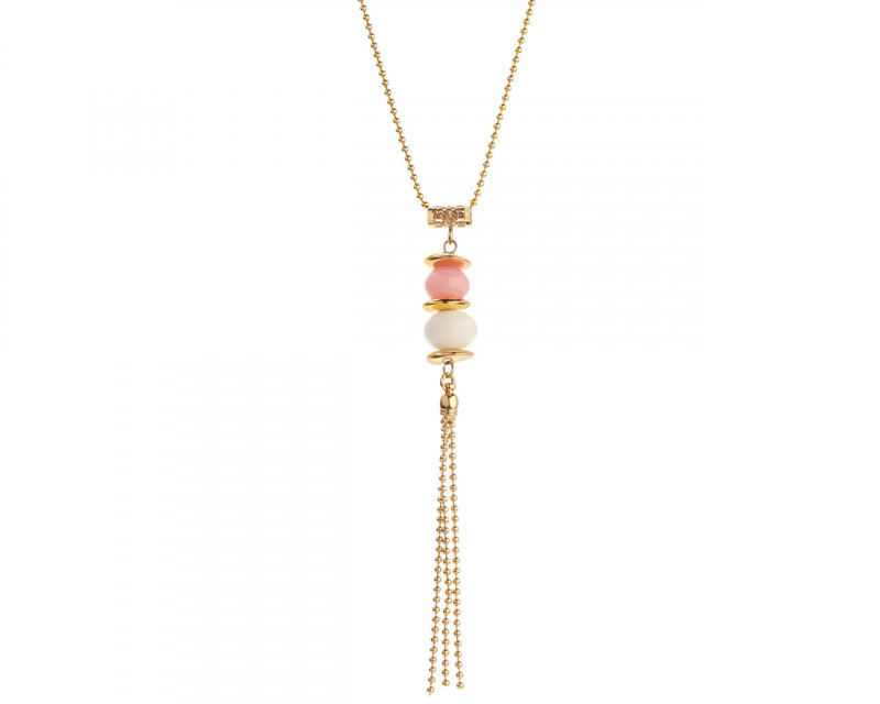 Gold-Plated Bronze Necklace with Crystal