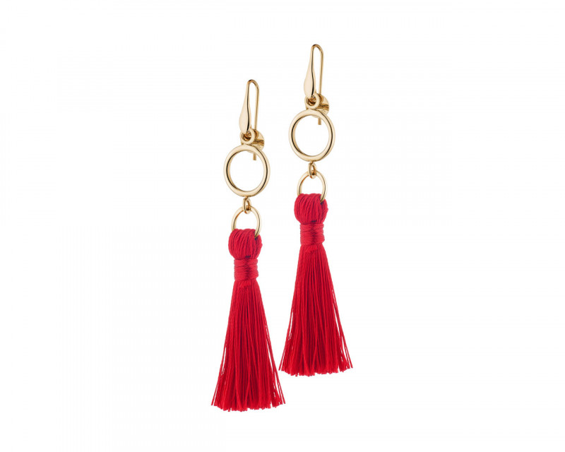 Gold Plated Bronze Champagne Tassel Earrings