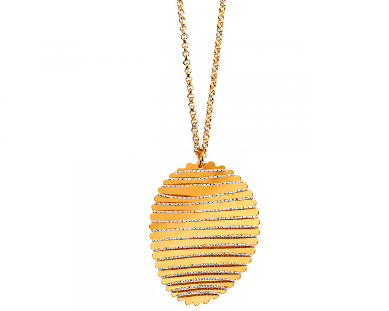 Rhodium-Plated Bronze, Gold-Plated Bronze Necklace