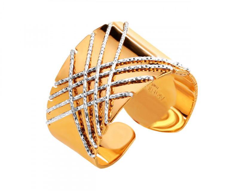 Rhodium-Plated Bronze, Gold-Plated Bronze Ring