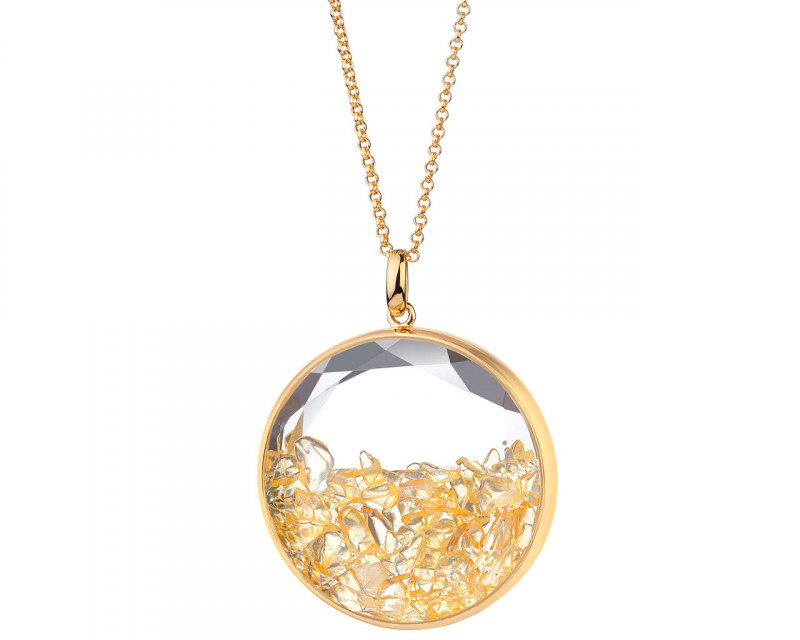 Gold-Plated Brass Necklace with Citrine