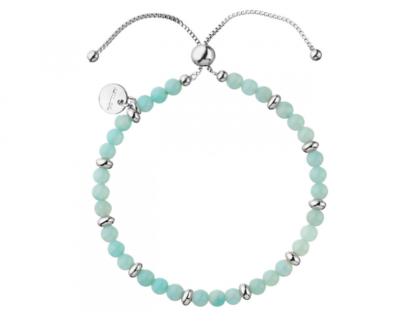 Rhodium-Plated Brass Bracelet with Amazonite