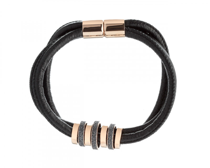Stainless Steel, Leather Mineral Powder Coating Bracelet