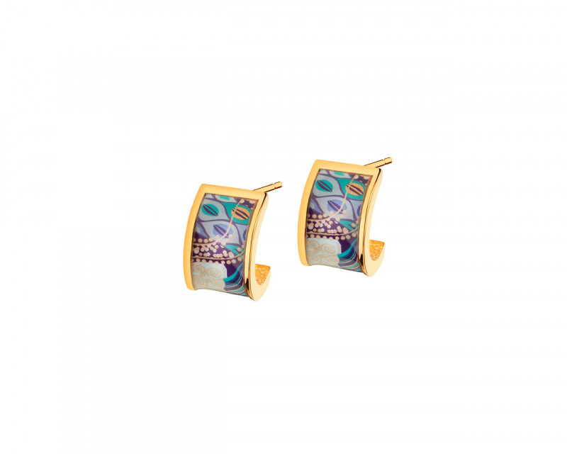 Gold-Plated Brass, Gold-Plated Silver & Enamel Earrings