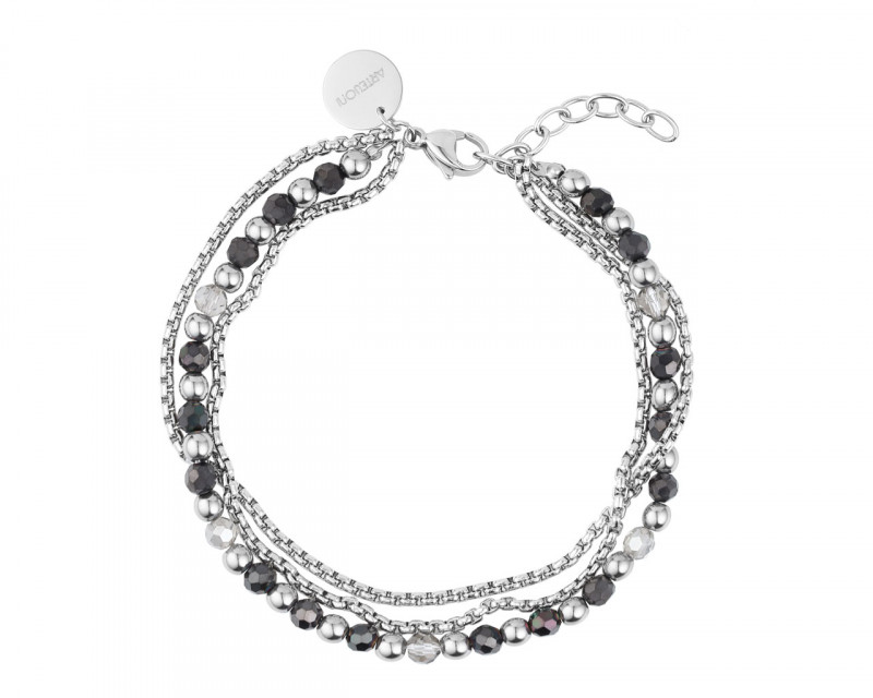Stainless Steel Bracelet with Glass