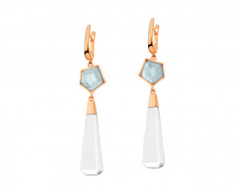 Gold-Plated Brass Earrings with Aquamarine