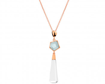 Gold-Plated Brass Necklace with Aquamarine