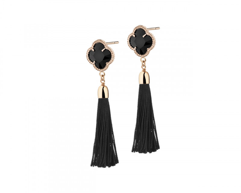 Gold Plated Bronze Champagne Earrings with Crystal
