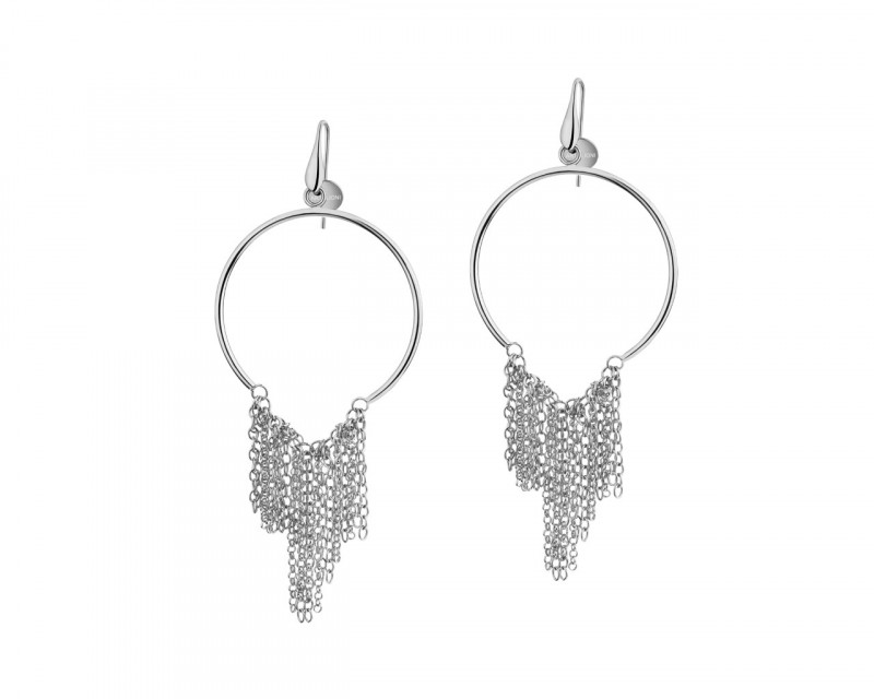 Rhodium-Plated Bronze Earrings