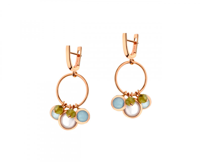 Gold Plated Brass Earrings with Quartz, Chalcedony, Crystal
