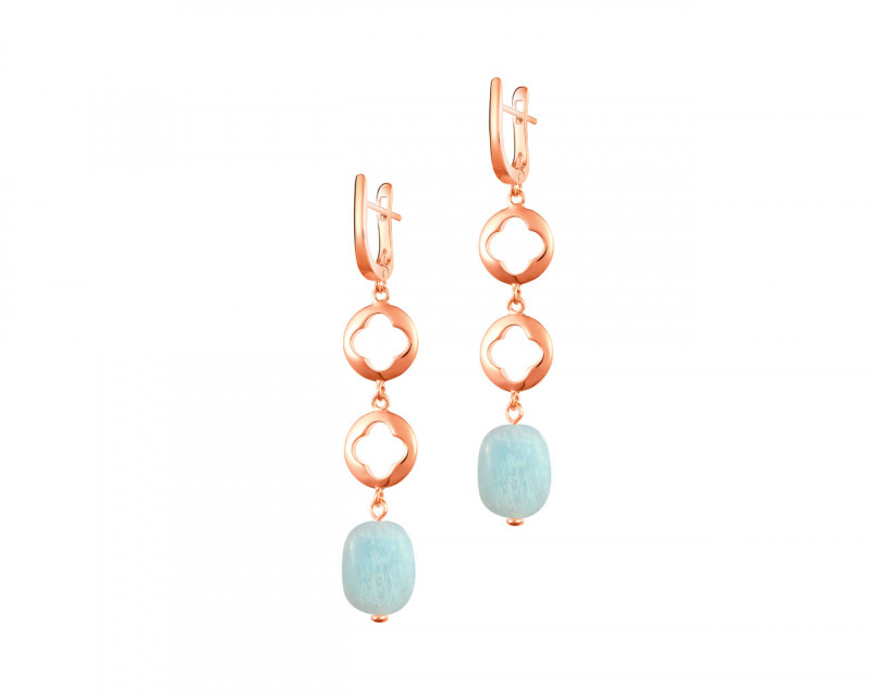 Gold Plated Brass Aquamarine Earrings