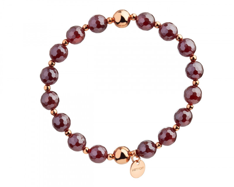 Gold Plated Brass Bracelet with Agate Beads
