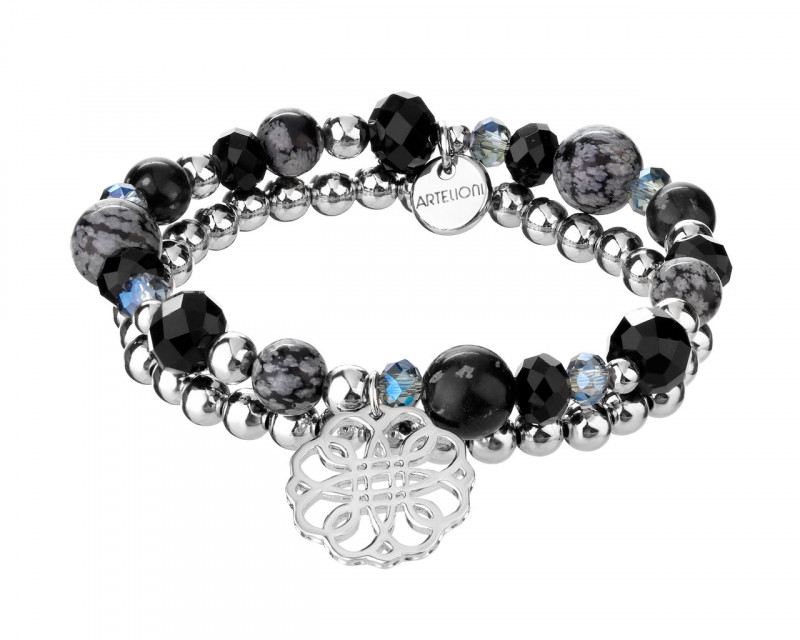 Rhodium-Plated Brass Bracelet with Agate
