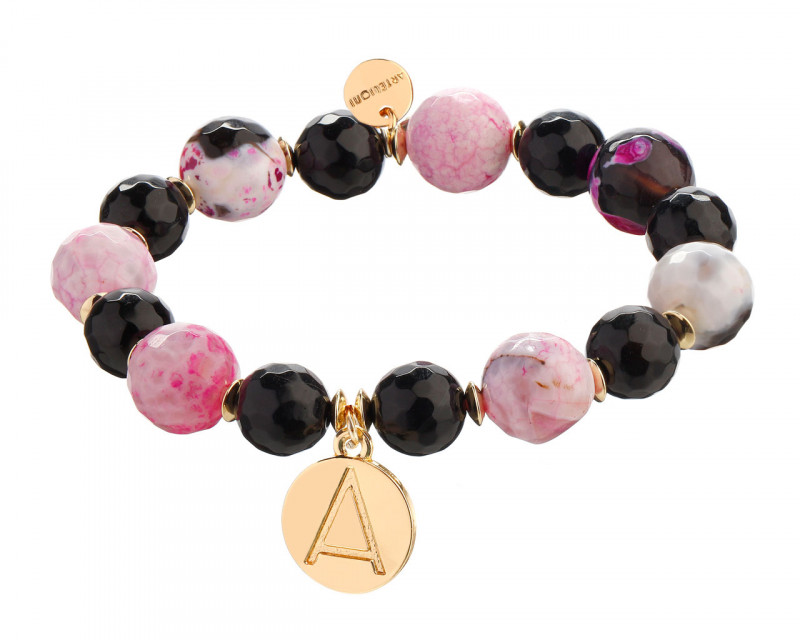 Gold-Plated Zinc Bracelet with Agate