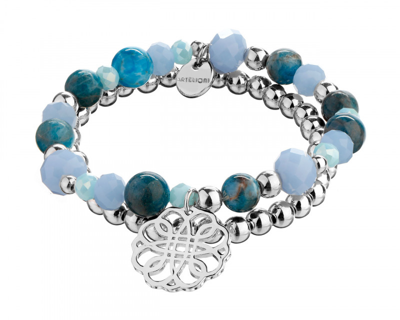 Rhodium-Plated Brass Bracelet with Aquamarine