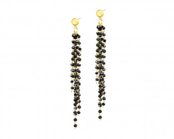 Gold-Plated Brass, Gold-Plated Silver Earrings with Glass