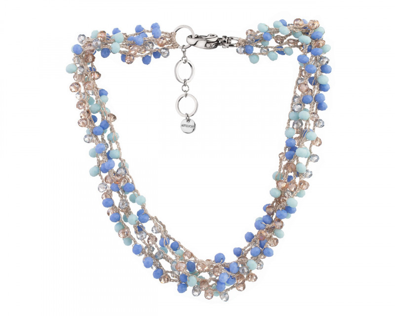 Rhodium-Plated Brass, Polyester Necklace with Glass