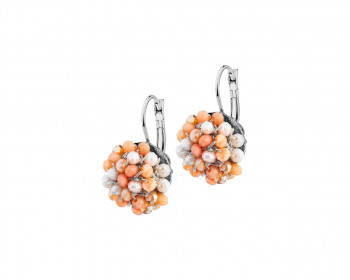 Stainless Steel, Polyester Earrings with Glass