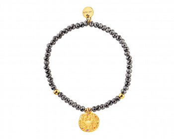 Gold Plated Brass Bracelet with Hematite and Cubic Zirconia - Cancer