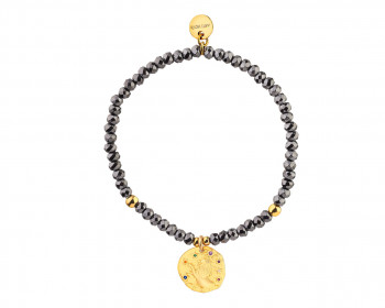 Gold Plated Brass Bracelet with Hematite and Cubic Zirconia - Leo