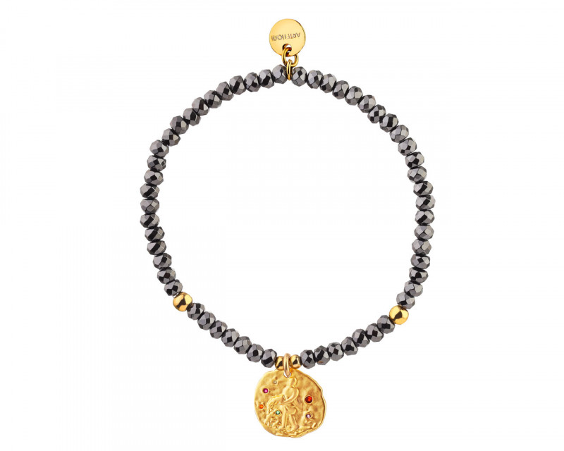 Gold Plated Brass Bracelet with Hematite and Cubic Zirconia - Aquarius