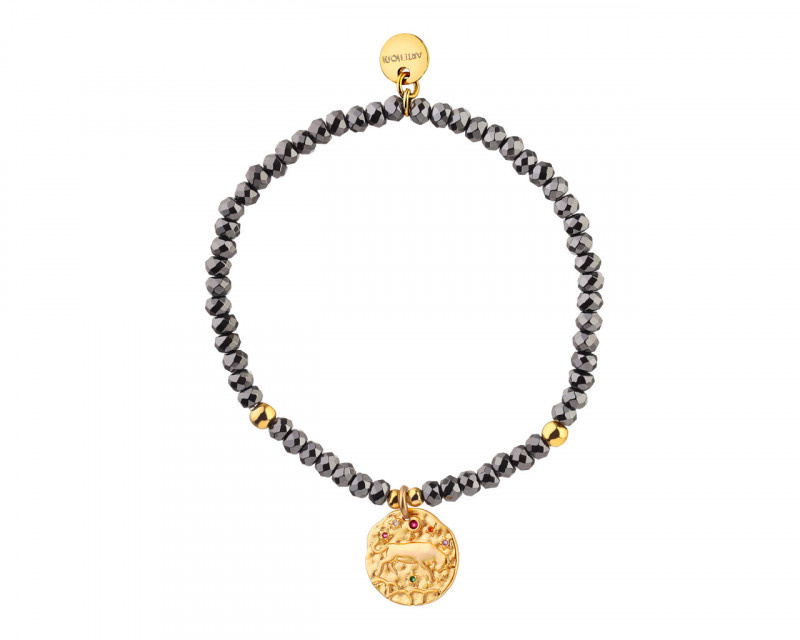 Gold Plated Brass Bracelet with Hematite and Cubic Zirconia - Taurus