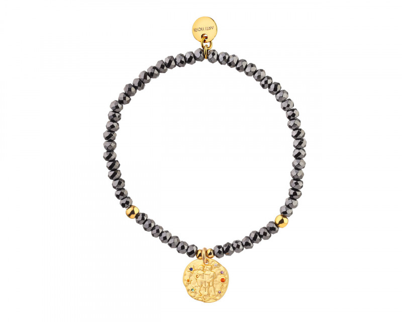 Gold Plated Brass Bracelet with Hematite and Cubic Zirconia - Gemini