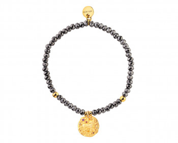 Gold Plated Brass Bracelet with Hematite and Cubic Zirconia - Aries