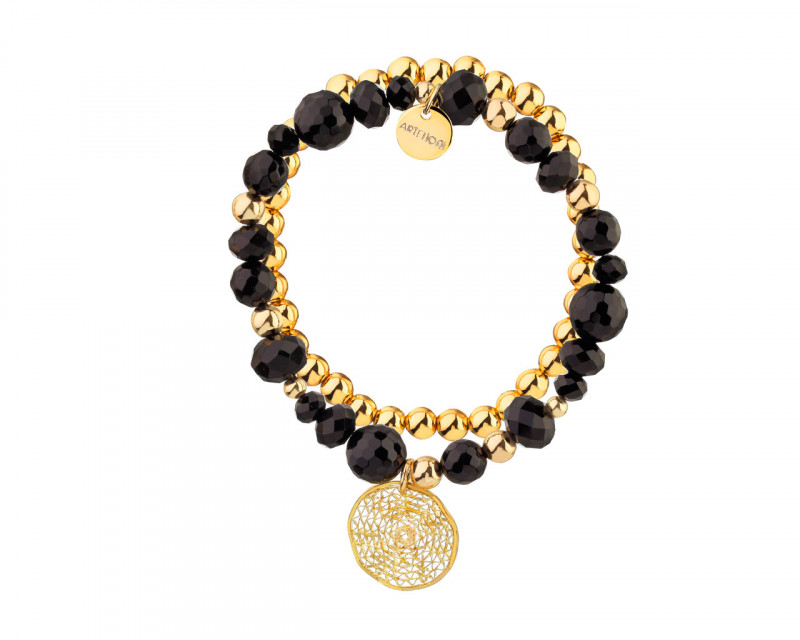 Gold Plated Brass Bracelet with Agate & Glass Beads