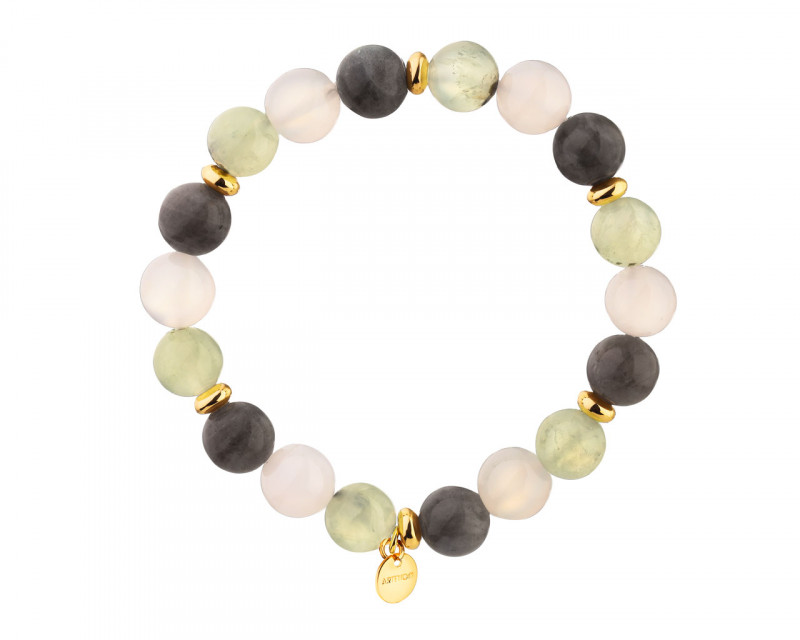 Gold Plated Brass Bracelet with Quartz, Labradorite & Pyrite Beads