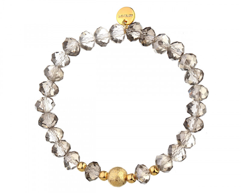 Gold Plated Brass Bracelet with Glass Beads