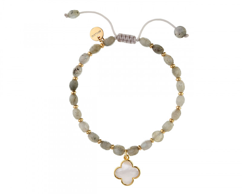 Gold Plated Brass Bracelet with Mother of Pearl & Labradorite Beads