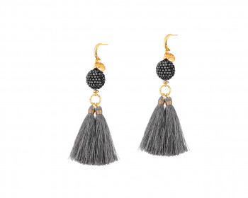 Gold Plated Brass Earrings with Glass Beads