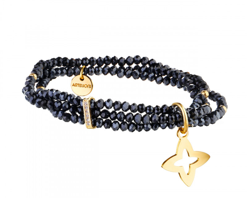 Gold Plated Brass, Steel Bracelet with Cubic Zirconia