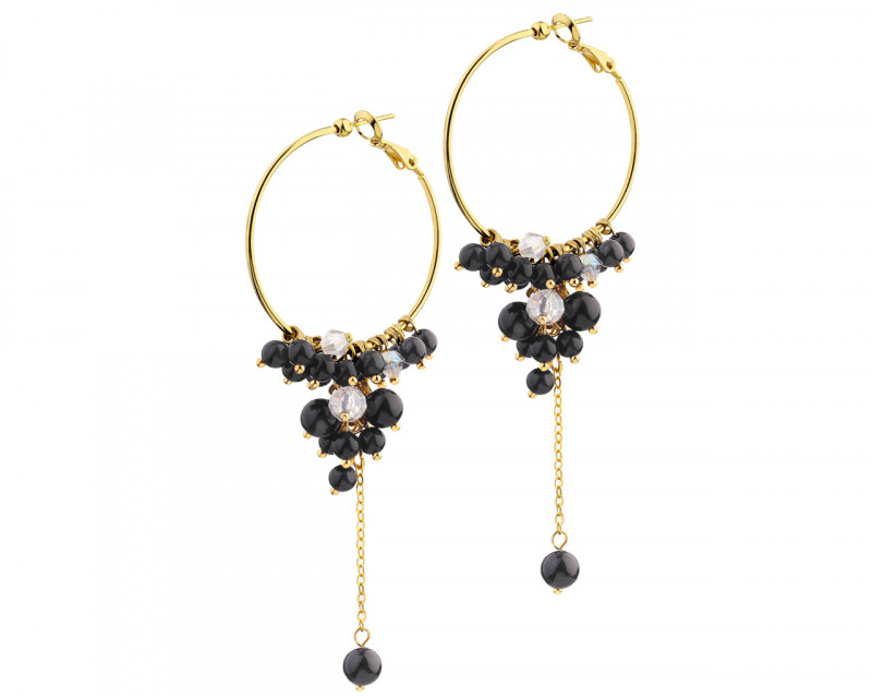 Gold-Plated Brass Earrings with Onyx