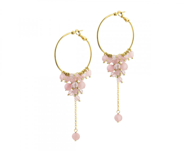Gold-Plated Brass Earrings with Quartz
