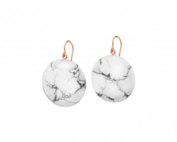 Gold-Plated Brass, Gold-Plated Silver Earrings with Howlite