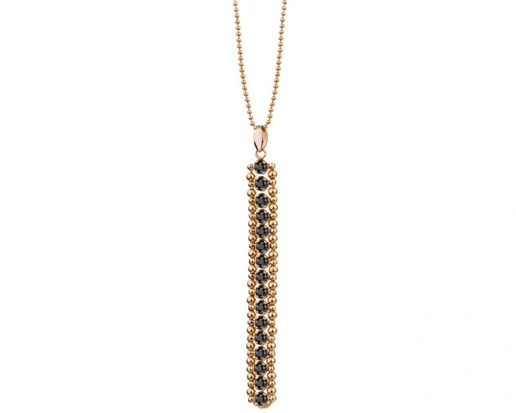 Gold Plated Brass Necklace with Cubic Zirconia