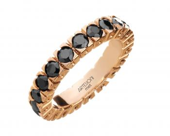 Gold-plated brass ring with cubic zirconias