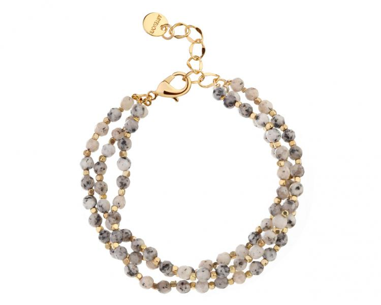 Gold-Plated Brass Bracelet with Gemstone