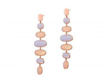 Gold-Plated Brass, Gold-Plated Silver Earrings with Agate