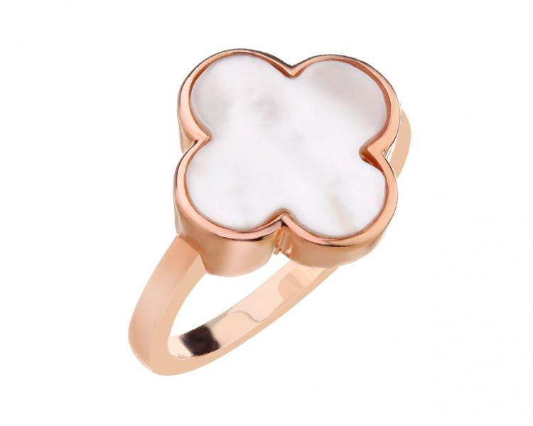Gold-Plated Brass Ring with Mother Of Pearl