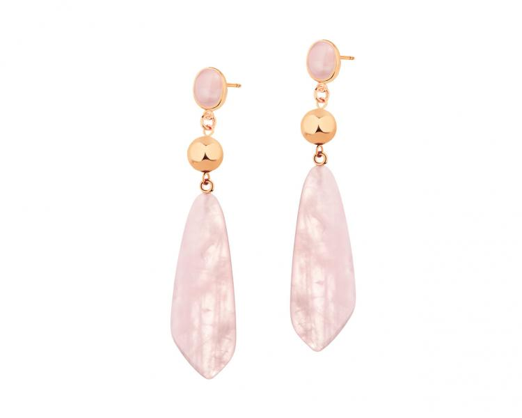 Gold-Plated Brass, Gold-Plated Silver Earrings with Quartz
