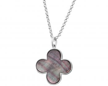 Rhodium-Plated Brass Necklace with Mother Of Pearl