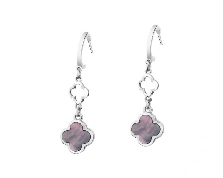 Rhodium-Plated Brass, Rhodium-Plated Silver Earrings with Mother Of Pearl