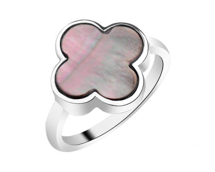 Rhodium-Plated Brass Ring with Mother Of Pearl