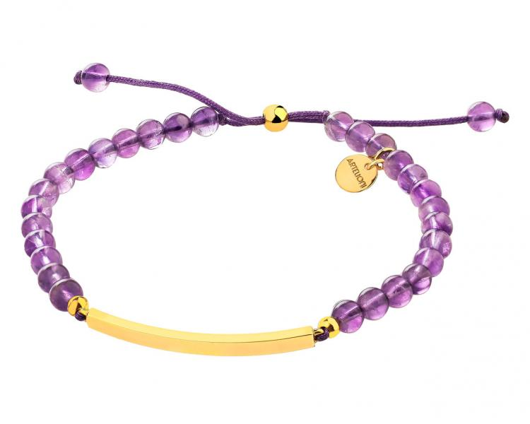 Gold-Plated Brass Bracelet with Amethyst